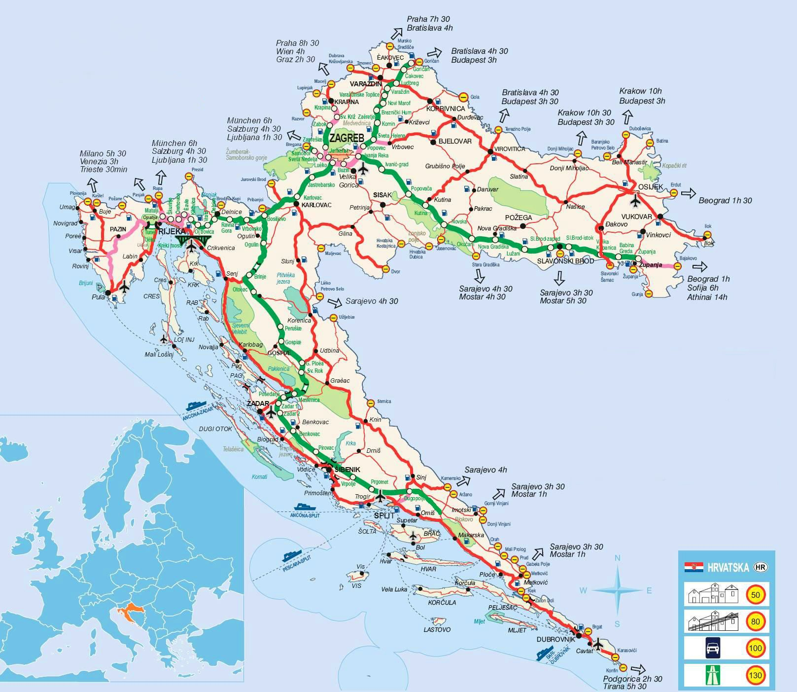 Carte Croatie Lieux Dinteret.Cartes De La Croatie