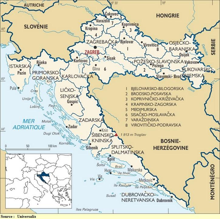 Cartes de la Croatie
